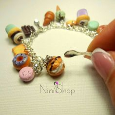 Sweets 4 Everyone Handmade charms on the silver plated bracelet Miniature Food, Macarons, Silver Plate, Charms, Handmade Jewelry, Beaded Bracelets, Sweets, Gifts, Tiny Food