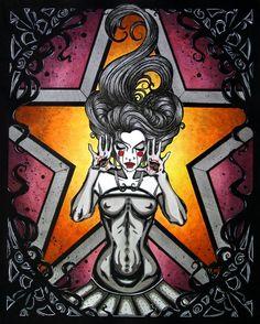 Goth woman with spirits in hair comic FANTASY ART ebsq 11 x 14
