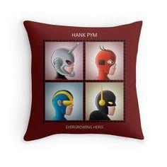 Evergrowing Hero  #Antman #HankPym #Marvel #Avengers #Comic #Superheroes #Movie #Film #Pillow #Goliath #Giantman #YellowJacket #Bug #Insect #RedBubble #Music #DemonDays #Gorillaz #Cover