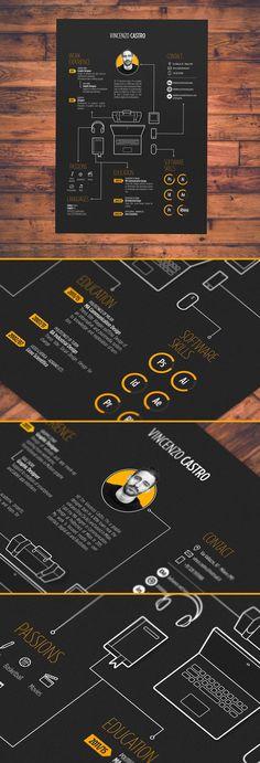 resume - Work inspo - Curriculum Vitae Present and discover creative work on the world's leading online platform for t Layout Cv, Layout Design, Cv Inspiration, Graphic Design Inspiration, Portfolio Resume, Portfolio Design, Cv Original Design, Conception Cv, Cv Web