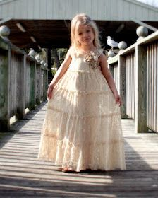Lace dress made from pillowcase dress pattern. This would be a cute flower girl dress.