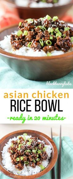 Asian Chicken Rice Bowl ready in 20 minutes! So easy, one of our weeknight favorites! Ready in 20 minutes!