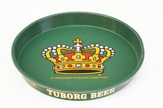 Vintage Tuborg Beer Metal Tray/Danish/Barware/Crown Print/Round Tray/Boho/Retro by SycamoreVintage on Etsy