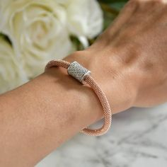 Bracelet Reflex Fermoir Dalia zircons Argent et oxydes blancs / Rose Gold / Dalia Joaillerie #MyDalia