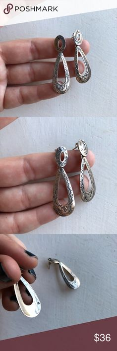 "Southwestern sterling silver dangle earrings Southwestern-style earrings, beautiful design engraved in .925 sterling silver. Earrings measure 2"" long, 3/4"" at widest point. Pierced ears, will arrive boxed & ready to wear! Jewelry Earrings"