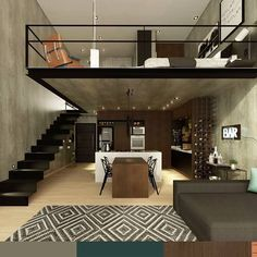 n industrial loft design was meant for an artist and it combines the best of both worlds. This industrial interior loft is a wonde Loft Design, Tiny House Design, Modern House Design, Design Case, Design Design, Apartment Interior, Apartment Design, Interior Livingroom, Best Home Interior Design