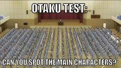 Otaku test ~ Assassination Classroom<<<This is really hard.I really wanted to know where the main characters are tho. Otaku Test, Spot The Main Character, Haikyuu, Assassination Classroom Funny, Kuroko, Classroom Memes, Koro Sensei, Otaku Issues, Rage