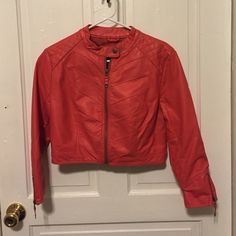 Coral faux-leather jacket Coral faux-leather jacket. Wonderful half length! Fun piece! Charlotte Russe Jackets & Coats