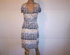 ANN TAYLOR LOFT Faux Wrap Dress Sz XS Stretch Animal Print Short Sleeves Womens #AnnTaylorLOFT #WrapDress #WeartoWork