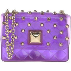 Hervê Guyel Cross-body Bag (£125) ❤ liked on Polyvore featuring bags, handbags, purple, purple crossbody bag, rubber purse, crossbody handbags, cross body et purple crossbody purse