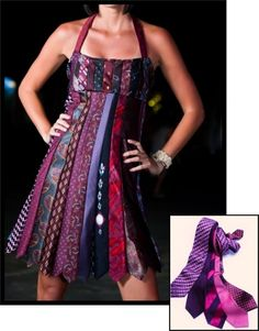 Repurpose old ties into a cocktail dress  -   ha ha seriously!?  Had to pin this..... for whenever you have a notion to make a tie dress ;)