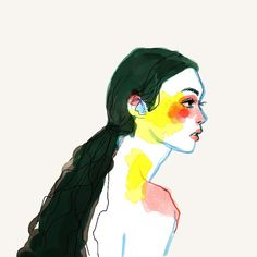 colorful illustration of the profile of a woman