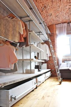 White Washed Reclaimed Scaffolding Boards and - scaffolding planks, home storage organization