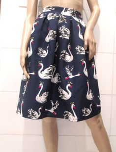 Vintage Blue Pleated Swan Duck Skirt.  Adult by MISSVINTAGE5000