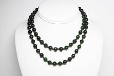 Nephrite Jade Bead Necklace  Hand Knotted Pull Over  78 Dark