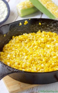 Summer Southern Series: Skillet Fried Corn - HOLLY'S CHEAT DAY Absolutely delicious corn fried to perfection in an iron skillet. Southern Fried Corn, Southern Dishes, Southern Recipes, Southern Food, Fried Corn Recipes, Vegetable Recipes, Vegetarian Recipes, Cooking Recipes, Cooking Corn