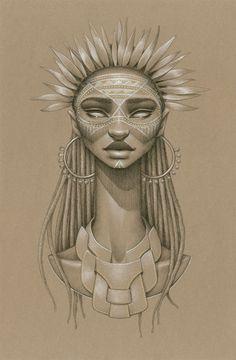 Sundust: Striking Charcoal & Conté Portraits of Sun Goddesses by Sara Golish portraits illustration drawing Africa