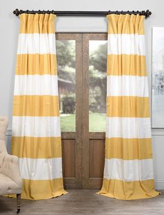 Quince Yellow U0026 Off White Horizontal Stripe Curtain