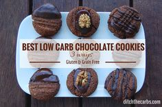 These are the simplest and best low carb chocolate cookies with only 2.7g net carbs. See how to decorate the best low carb chocolate cookies 3 ways.