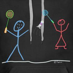 Strichmännchen Stick figure   Badminton Strichmännchen Miteinander Gemeinsam Job - Frauen Premium Hoodie Outdoor Survival Gear, Stick Figures, Cloth Bags, Interior And Exterior, Abstract, Artwork, Gifts, Beautiful, Art Work
