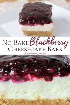 Our scrumptious no-bake blackberry cheesecake bars are silky and creamy. They are easy to prepare and serve making them a great summertime party dessert. Blackberry Cheesecake, Homemade Cheesecake, Homemade Snickers, Cheesecake Bars, Cheesecake Recipes, Protein Cheesecake, Classic Cheesecake, Cold Desserts, Easy No Bake Desserts