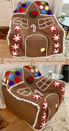 How to Crochet a Gingerbread House Blanket - FREE Pattern! - - How to Crochet a Gingerbread House Blanket - FREE Pattern! Christmas Crochet Blanket, Baby Boy Crochet Blanket, Christmas Knitting, Holiday Crochet Patterns, Christmas Patterns, Christmas Crafts, Halloween Crochet, Afghan Crochet Patterns, Crocheted Afghans