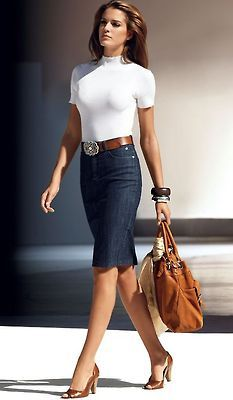 Cool-style. I have a Denim skirt (so similar to this one), the Camel tote bag, the camel-brown belt, the pumps & only need that lovely stretch white T... But it can be solved easily : )