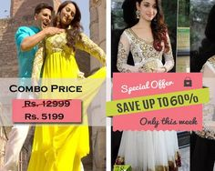 Combo Offer Of Designer Bollywood Embroidered White Suit And Yellow Suit