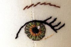 fabric doll eyes knitting-and-sewing-patterns-ideas-inspirationHow to make doll eyes - wish I'd seen this when I was knitting dolls - love how the eye looks so real.How to embroider, draw or paint doll eyes on fabric. I love this eye! For Ingrid - Doll ma Cross Stitch Embroidery, Embroidery Patterns, Hand Embroidery, Sewing Patterns, Crochet Patterns, Simple Embroidery, Rag Doll Patterns, Machine Embroidery, Handmade Dolls Patterns