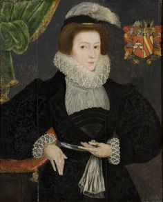 Oil painting on panel, Judith Tracey, Mrs Francis Throckmorton, English School, 16th century. A three-quarter-length portrait of the daughter of Richard Tracey of Stanway and Barbara Lucy of Charlecote. She was the wife of Francis Throckmorton of Ullenhall. She is wearing a black embroidered dress with white lace collarand blouse, ruff and cuffs, leaning her right arm on a cushion on a pedestal and her left hand at the sash round her waist.