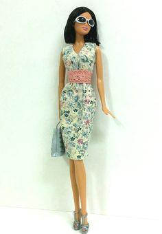 Barbie Dress  Floral Midi Dress with Pink Beige by SKSungDesigns