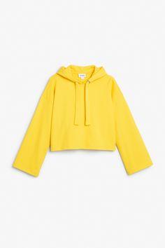 Monki Image 1 of Wide sleeve hoodie in Yellow
