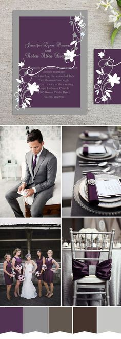 purple and grey wedding color inspiration and gorgeous wedding invitations