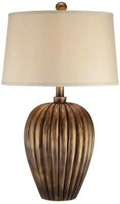 Golden Copper Fluted Jar Table Lamp -