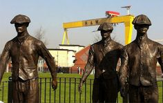 'The Yardmen' depicts three ship yard workers heading home from Harland and Wolff with Belfast's iconic cranes in the background placed at the bottom end of the newtownards road Belfast Titanic, Rms Titanic, Ireland Holiday, Belfast Northern Ireland, Irish Eyes, Picts, Back In Time, Travel Posters, Places To See