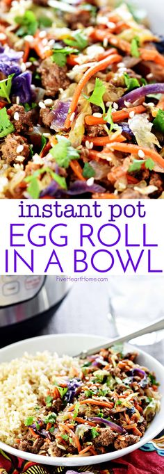 """Instant Pot Egg Roll in a Bowl ~ a hearty, healthy, delicious recipe of egg roll """"filling"""" without the wrapper, that effortlessly comes together in mere minutes in the pressure cooker! 