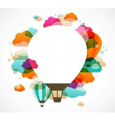 Hot air balloon colorful abstract background vector - by ma_rish on VectorStock®