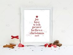 Christmas Tree Subway Art PRINTABLE / Joy love peace by RissDesign