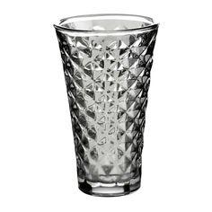 Świecznik szklany szary wysoki zapewni ciepłe wieczory jesienią i zimą. Szkło ręcznie malowane, w kartkę, dzięki której światło świeczki uroczo załamuje się