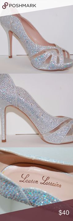 Lauren Lorraine Crystal Beyonce Pumps I bought these in 2015 brand new to wear in my wedding and completely changed my mind last minute. A hurricane came through the week of my wedding and my wedding location changed, which required flats. So these have never been worn outside of the store.   Bundles get discounts and offers are always welcome!! Lauren Lorraine Shoes Heels