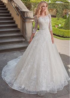 Fascinating Tulle & Lace Scoop Neckline A-line Wedding Dresses With Lace Appliqu. - - Fascinating Tulle & Lace Scoop Neckline A-line Wedding Dresses With Lace Appliques & Belt Source by laurenbridaldress Western Wedding Dresses, Princess Wedding Dresses, Modest Wedding Dresses, Perfect Wedding Dress, Tulle Wedding, Wedding Dress Styles, Bridal Dresses, Wedding Gowns, Event Dresses