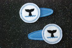Shamu Killer Whale Tail Felt Hair Bow Pigtail Clippies Machine by CouldYouBeAnyCuter on Etsy