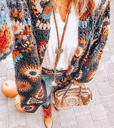 Super Ideas For Crochet Granny Square Vest Ideas Bohemian Mode, Bohemian Style, Boho Chic, Hippie Bohemian, Gypsy Style, Casual Chic, Modern Hippie, Cute Casual Outfits, Boho Gypsy