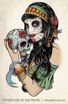 Sugar skull Tattoo  Google Image Result for http://www.tattoostime.com/images/111/sugar-skull-gypsy-tattoo.jpg