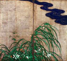 Sakai Hōitsu. Grasses and Flowers in Spring and Fall. Pair of two panel folding screens. Color on silver leaved paper. Edo period. Tōkyō Nat...