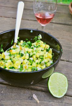 Pineapple Asian Pear Salsa  1 pineapple, finely diced  1 large asian pear, finely diced  4-5 scallions, finely chopped  2 small poblano chilis, de-seeded and diced  1 serrano chili pepper, diced (de-seeded if you want to tame the heat; you can also use a jalapeno)  1 handful of cilantro, chopped  juice of 1 lime  salt Asian Pear Recipes, Mexican Food Recipes, Canning Recipes, Salad Recipes, Healthy Recipes, Canned Food Storage, Fruit Dishes, Detox Soup, Lime Salt