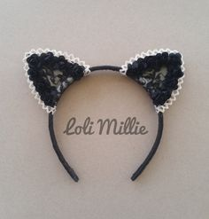 ❤ The Classic ❤    This listing is for (1) Headband.    Our classic floral cat ears in black.    The base of this headband is made out of black satin