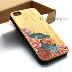 iPhone 5C case iPhone 5S 5 case Wood cover Vintage flower floral print case by Woodtomize, $18.98
