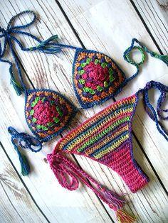 Crochet bikini Crochet swimwear Crochet bathing suit by MarryG Best Swimwear, Trendy Swimwear, Bikini Swimwear, Haut Bikini, Bikini Set, Bikini Tops, Bonnet Crochet, Crochet Skirt Pattern, Crochet Bathing Suits