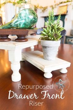How to Repurpose Old Drawer Fronts into a Beautiful Riser ~- Designed Decor repurposed-drawer-front-riser-DesignedDecor